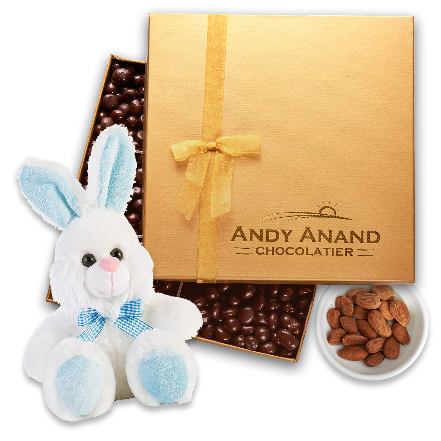 "Andy Anand's Chocolates - Easter Bunny Blue 13"" with Premium California Almonds covered with Gourmet Chocolate in Gift Basket, All-Natural and Certified Made from Natural Ingredients (1 lbs)"