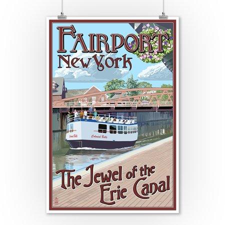 Fairport, New York - Erie Canal Scene - Lantern Press Artwork (9x12 Art Print, Wall Decor Travel Poster)