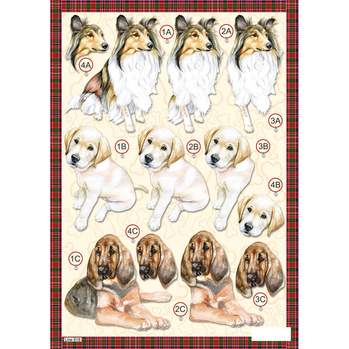 3-D Die-Cut Decoupage Sheet-Collie
