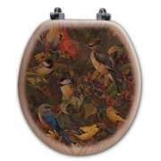 WGI-GALLERY Berry Bush Songbirds Oak Round Toilet Seat