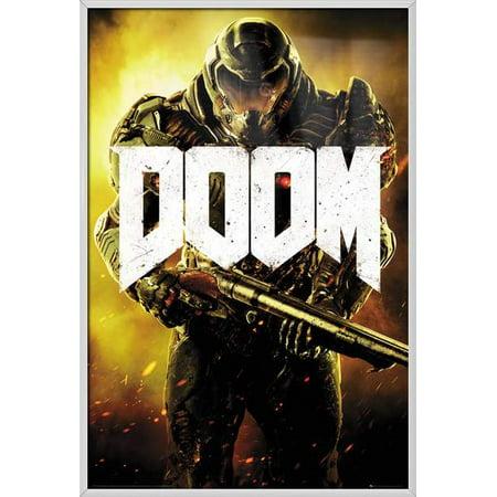 Doom   Framed Gaming Poster   Print  Marine   Size  24   X 36