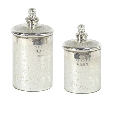 Decmode Traditional 9 And 12 Inch Cylindrical Silver Glass Canisters - Set of -