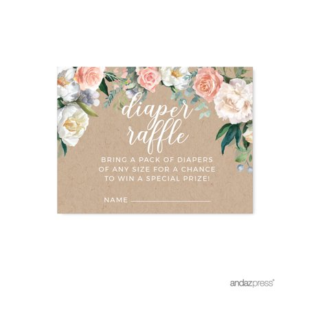 Peach Rustic Floral Garden Party, Diaper Raffle Cards, 30-Pack, Games - Baby Shower Diaper Raffle