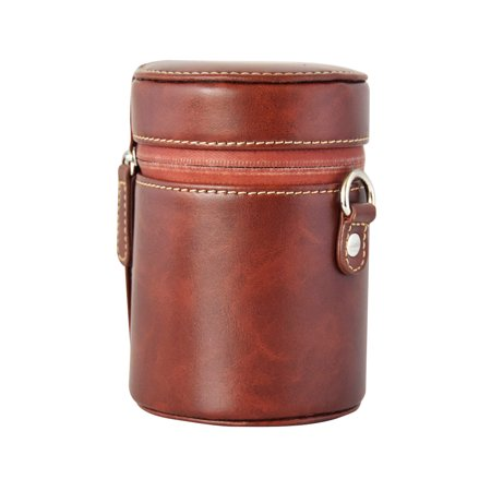 PU Leather Pouch Protective Lens Case Bag Cover Inner Size 95*65mm for Canon Nikon Sony Fuji Pentax Panasonic DSLR Universal Camera Lens Small