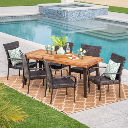 Leopold Outdoor 7 Piece Acacia Wood/ Wicker Dining Set, Teak Finish and Multibrown