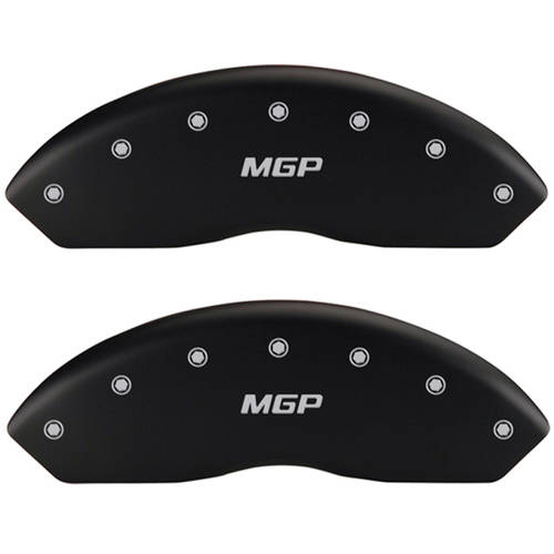 Front Set 2 MGP Caliper Covers 10006Fmgpmb, Engraved Front: MGP, Matte Black Powder Coat Finish, Silver Characters