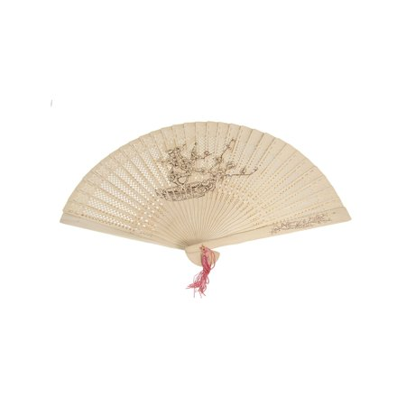 Unique Bargains Painting Drawing Plum Blossom Print Folding Wooden Fragrant Hand Fan](Folding Hand Fan)