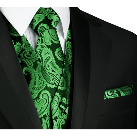 Italian Design, Men's Formal Tuxedo Vest, Tie & Hankie Set for Prom, Wedding, Cruise in Green
