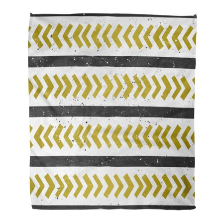 HATIART Throw Blanket Warm Cozy Print Flannel Chevron and Lines Abstract Geometric Pattern in Black Golden on White Comfortable Soft for Bed Sofa and Couch 50x60 Inches - image 1 de 1
