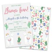 Personalized LLama & Cactus Birthday Party Invitations
