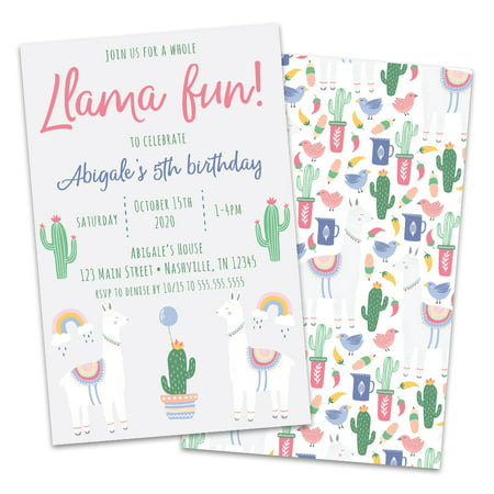 Personalized LLama & Cactus Birthday Party Invitations - 80s Theme Birthday Invitations