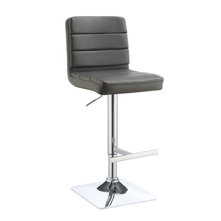 Bowery Hill Faux Leather Adjustable Bar Stool In Gray And