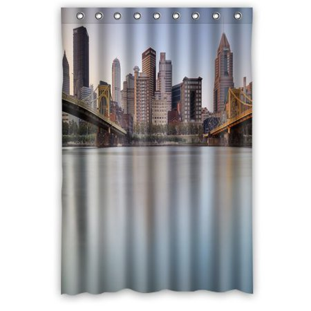 GreenDecor Pittsburgh Bridge Waterproof Shower Curtain Set with Hooks Bathroom Accessories Size 48x72 inches
