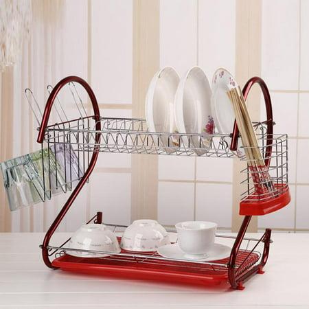 Modern Kitchen 2 Tier Chrome Kitchen Dish Drainer Drying