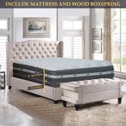 GOWTUN, 12-Inch Medium plush Foam Encased Eurotop Pillowtop Memory Foam Gel Pocketed Coil Innerspring Mattress And 8-Inch Fully Assembled Wood Boxspring/Foundation Set, Twin XL Size