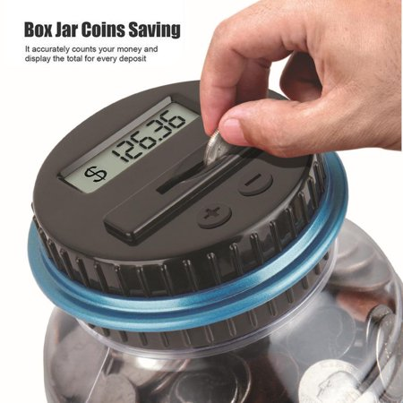 Outtop Clear Digital Piggy Bank Coin Savings Counter LCD Counting Money Jar Change Gift