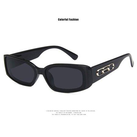 European And American Styles Trends Hd Universal Flat Mirrors Retro Squares Wide Legs Hip Hop Fashion 2185 Sunglasses bright black gray film - image 7 de 8
