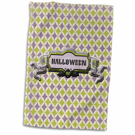 3dRose Halloween Bat with Flowers on Geometrical Design, Green, Purple, Black - Towel, 15 by 22-inch