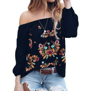 Starvnc Women Off the Shoulder Long Sleeve Floral Shirt Tops