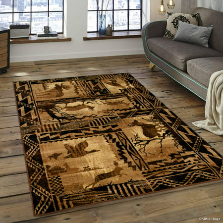 Brown Bear Wildlife Animal Print Forest Outdoor Area Rug