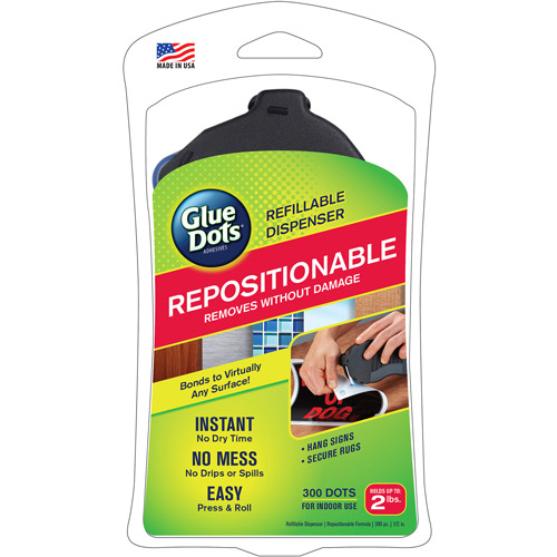 Glue Dots Repositionable Refillable Dispenser, 300-Dot Roll