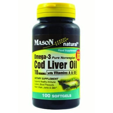 Mason Natural Cod Liver Oil Omega-3,100ct