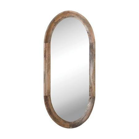 3R Studios Oval Wall Mirror with Mango Wood Frame Oval Maple Framed Mirror