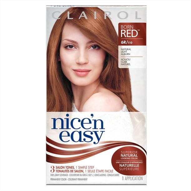 Clairol Nice N Easy Born Red Permanent Hair Color 6r 110 Natural Light Auburn 1 Kit Walmart Com Walmart Com
