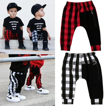 Fashion Toddler Kids Boys Plaid Bottom Pants Panty Harem Pants Trousers Casual