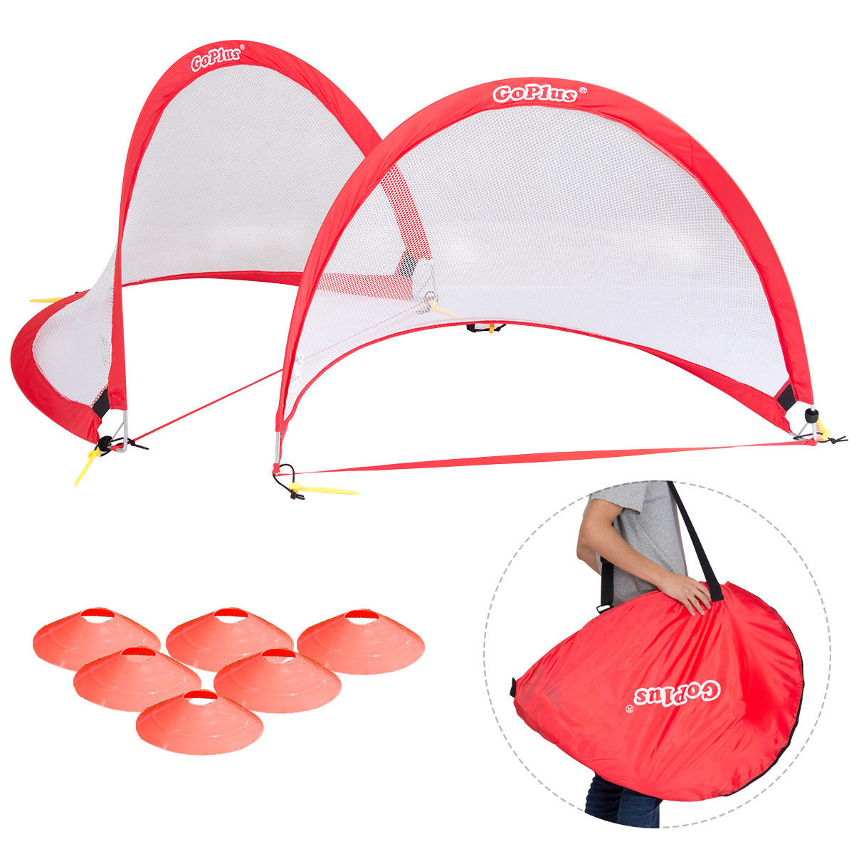 """Costway Goplus Set of 2 Portable 4' Pop-Up Soccer Goals Set For Backyard w Carrying Bag 6 Cones"""