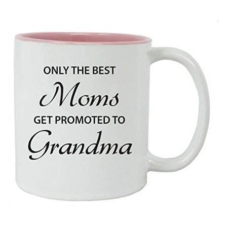 Only the Best Moms Get Promoted to Grandma 11 oz White Ceramic Coffee Mug (Pink) with Gift