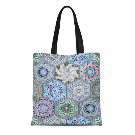 HATIART Canvas Tote Bag Oriental in of Colorful Floral Patchwork Boho Chic Mandala Durable Reusable Shopping Shoulder Grocery Bag - image 1 de 1