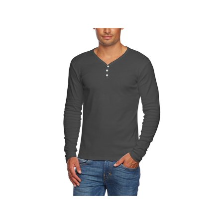 cd4e6ffa Alta - Alta Men's Slim Fit V Neck Long Sleeve Cotton T-Shirt with 3 Button  Up Opening - Walmart.com