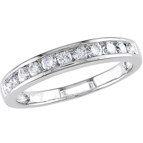 Miabella 1/2 Carat T.W. Diamond 14kt White Gold Semi-Eternity Anniversary Ring