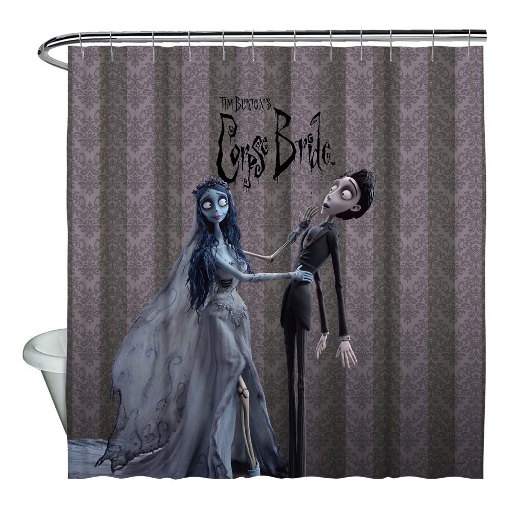 Corpse Bride Bride And Groom Shower Curtain White 71X74