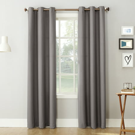 No. 918 Nathan Casual Textured Semi-Sheer Grommet Curtain Panel Black Double Gang Grommet