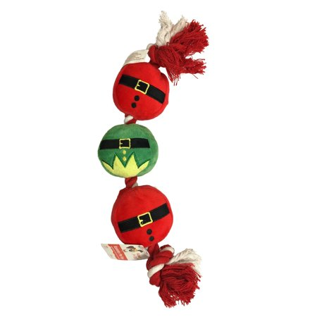 Christmas Santa and Elf Outfit Plush Pet Rope Toy with Squeaker and Crinkle Dog - Santa Elf Outfit