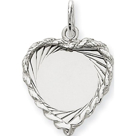 Leslies Fine Jewelry Designer 14k White Gold Etched Design .013 Gauge Engravable Heart (16x24mm) Pendant Gift