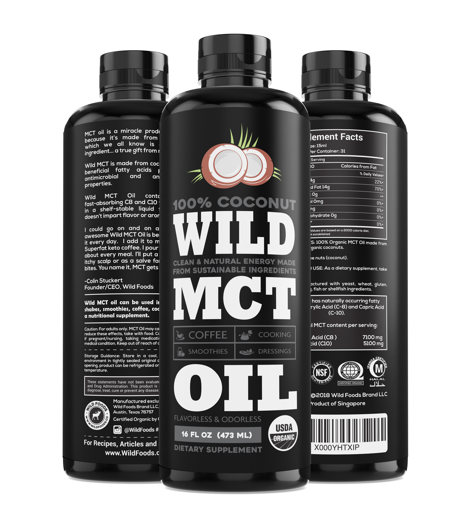Wild MCT Oil C8 - C10 Blend - Made From 100% Organic, Sustainable Coconuts, Flavorless, Odorless, Supplement, 16oz BPA-FREE Bottle, Non-GMO, Guaranteed Quality