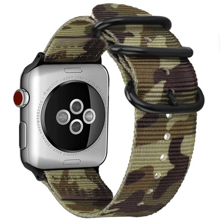 Nylon 4 Buckle (For Apple Watch 4 44mm Band Fintie Woven Nylon Bands Adjustable Sport Strap with Metal Buckle iWatch Series 4 Camo Green)