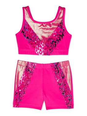 Danskin Now Girl's 2 Pack Leopard printed Bra top and Bike short combo Sizes XS - XL