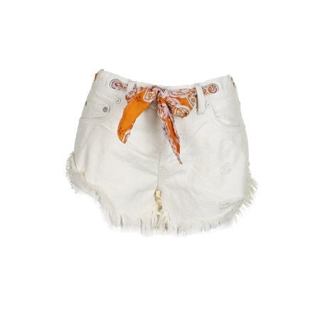 Free People Worn White Grommet Sashed Relaxed Cotton Denim Shorts 31