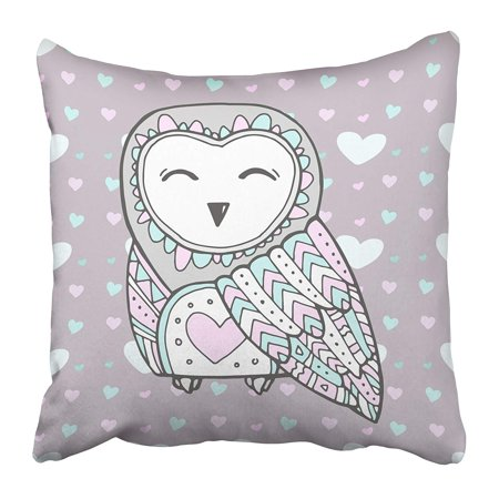 ECCOT Cute Owl Bird Heart Love Bohemia Ticket Branding Label for Girl Women Pink Blue Pillowcase Pillow Cover 18x18 inch - Hearts Small Ticket