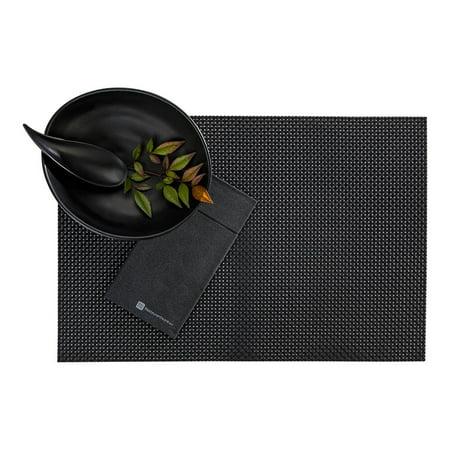 Amalfi Basketweave Black Vinyl Woven Placemat - 16