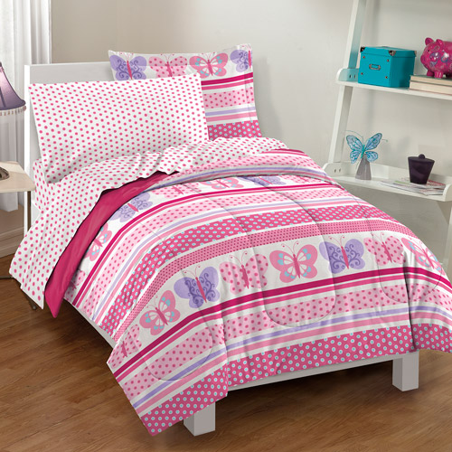 Dream Factory Butterfly Dots Bedding Comforter Set