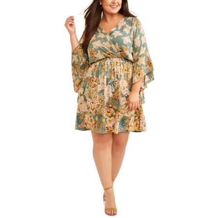 Women's Plus Size Floral Print Dramatic Bell Sleeve Wrap Dress - Plus Size Bell Bottoms