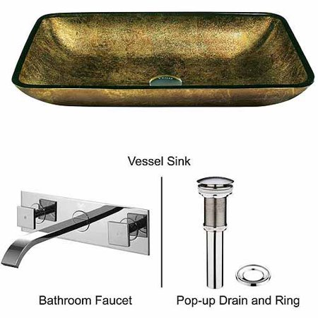 Vigo Rectangular Copper Glass Vessel Sink and Wall Mount Faucet Set Copperhaus Rectangular Copper Sink