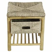 Heather Ann Creations W27121-NAT Kaleo Bamboo & Seagrass Open Frame Storage Stool with 1-Shelf & 1 Basket - Natural