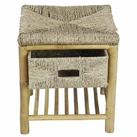 Kaleo Bamboo & Seagrass Open Frame Storage Stool with 1-Shelf & 1 Basket - Natural ()