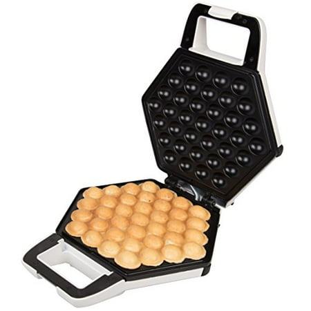 Bubble Waffle Maker- Electric Non stick Hong Kong Egg Waffler Iron Griddle (White)- Ready in under 5